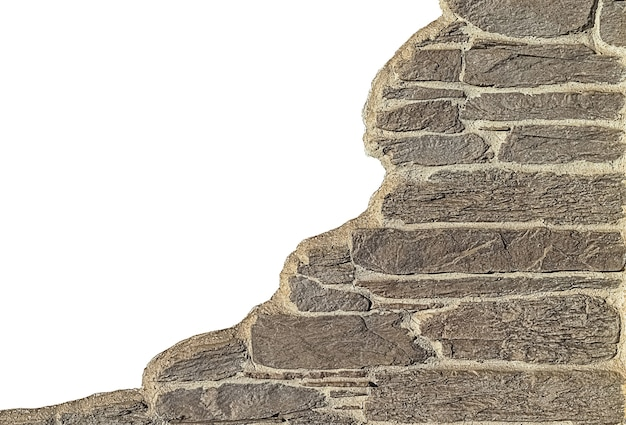 白い背景で隔離の灰色のレンガの壁の一部。