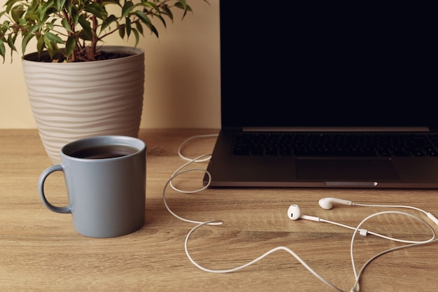 Часть ноутбука с пустым экраном, горшечным растением, кружкой и наушниками с белым кабелем.