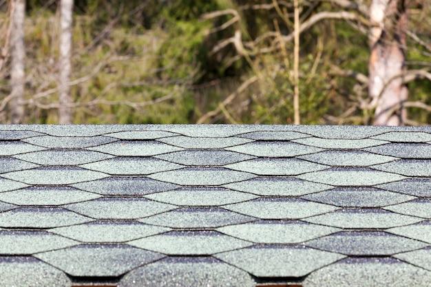녹색 플라스틱이지만 부드러운 지붕 널로 만들어진 집 지붕의 일부