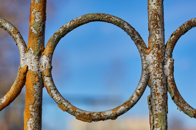 Part of an old, iron, rusty fence against a blue sky