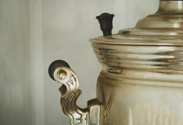 Part of the old metal russian samovar