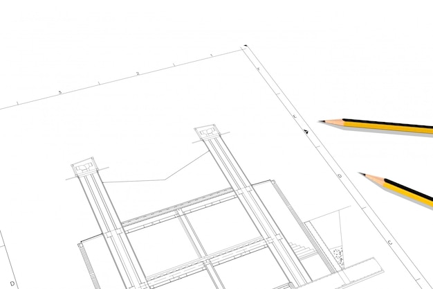 Part plan of architectural project on the white paper