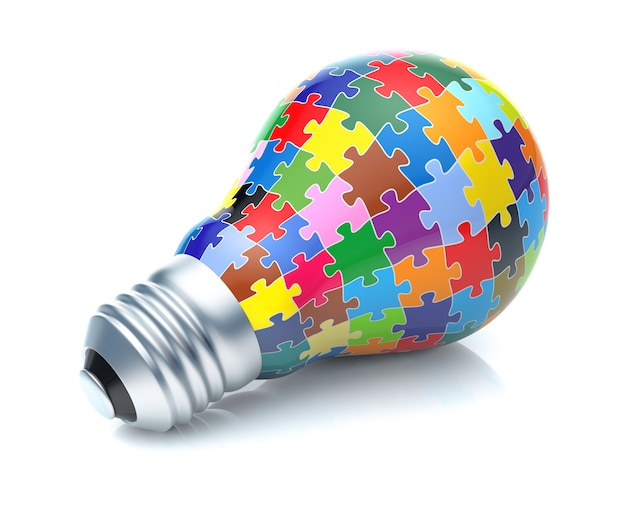 Part of puzzles in the form of light bulb. creative design with colorful puzzle pieces