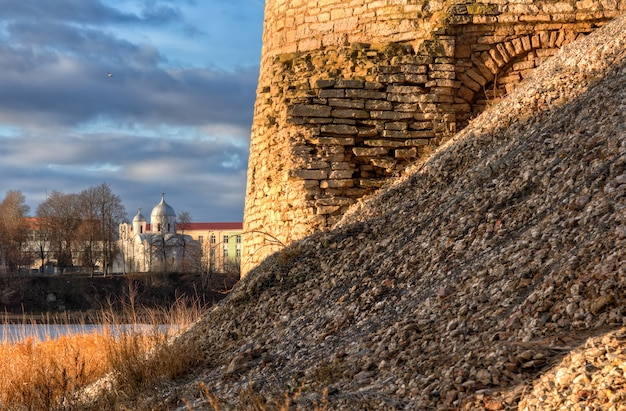 A part of a wall of the ancient city of pskov and st. john the baptist monastery