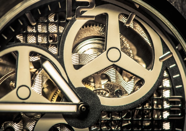 Part of watch with mechanical movement, macro shot.