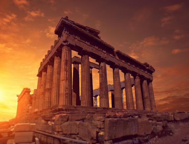 Parthenon temple on a bright day