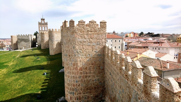 Partial view of the walls of avila spain