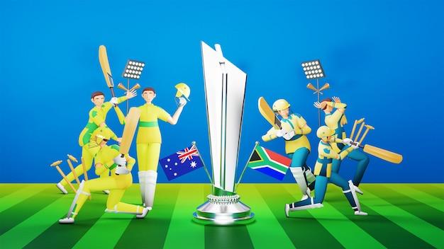 シルバートロフィー賞と3dスタイルのトーナメント機器を備えたオーストラリア対南アフリカの参加クリケットチーム。