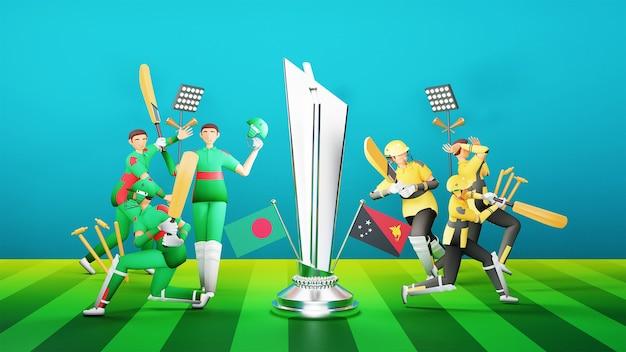 バングラデシュ対スコットランドの参加クリケットチーム。3dスタイルの銀メダルを獲得したトロフィーとトーナメント機器を備えています。