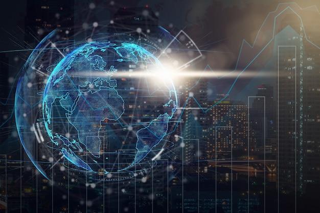 도시 경관 배경이 흐릿한 사진 위에 기술 네트워크 원이 있는 입자 지구