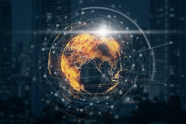 都市景観の背景のぼやけた写真の上にテクノロジーネットワークサークルを持つ粒子地球