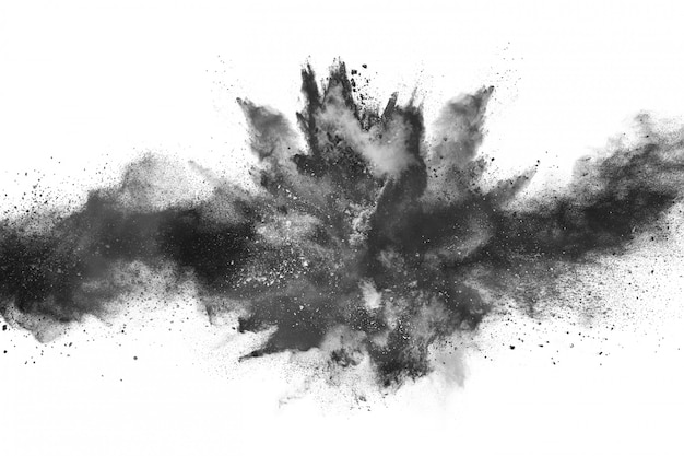 Particles of charcoal color powder explosion on white background