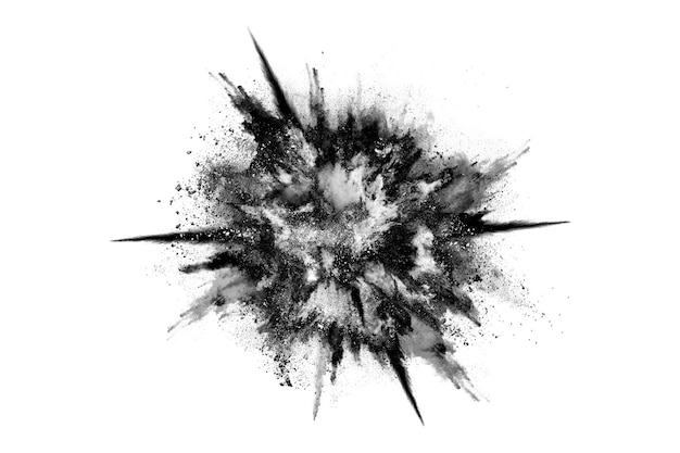 Particles of charcoal on white background