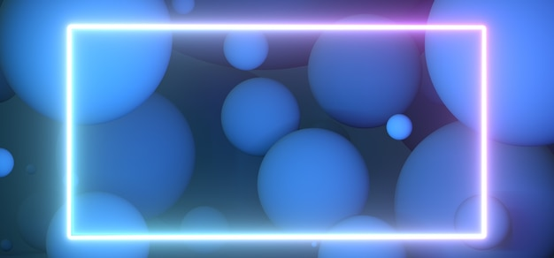 Частицы, плавающие в синем студийном свете, неоновая рамка, пустое пространство для рендеринга дизайна d