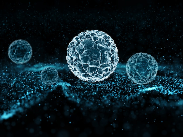Particles and virus cells floating