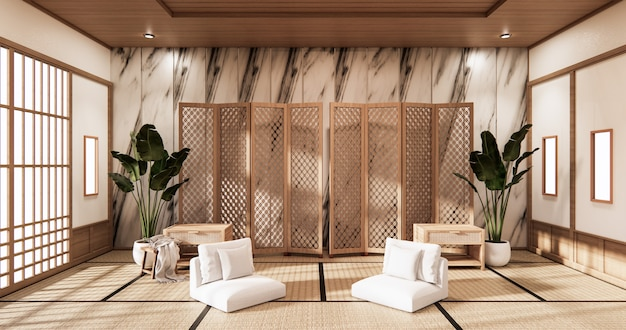 Partition japanese on room tropical interior with tatami mat floor and ganite tiles wall