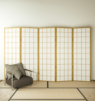 Partition paper wooden design and armchair on living room tatami floor.