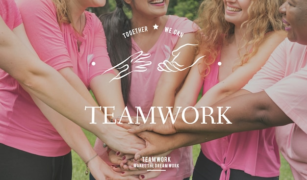 Partnership team support togetherness cooperation hands graphic