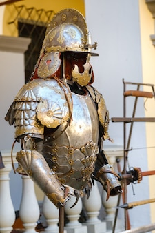 Parts of ancient knight's armor.a medieval concept.metallic texture.