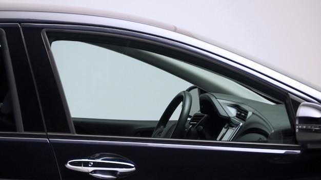 Parts of automotive car black color such as window wheel lamp mirror side shots shooting