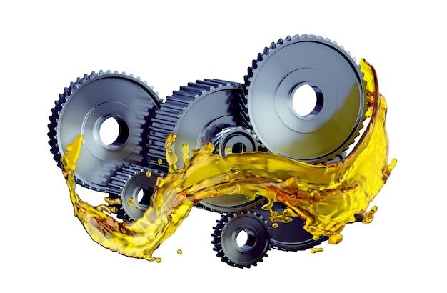 Детали в двигателе автомобиля со смазочным маслом на ремонте