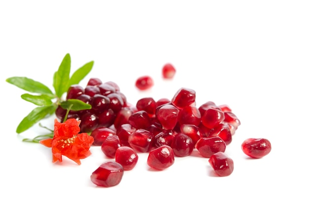 Parts of a pomegranate with pomegranate seeds and leaves, flowers isolated
