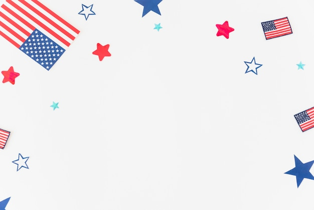 Parts of usa flag on white background