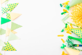 Party background with birthday accessories