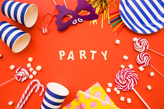 Party background with decorative items