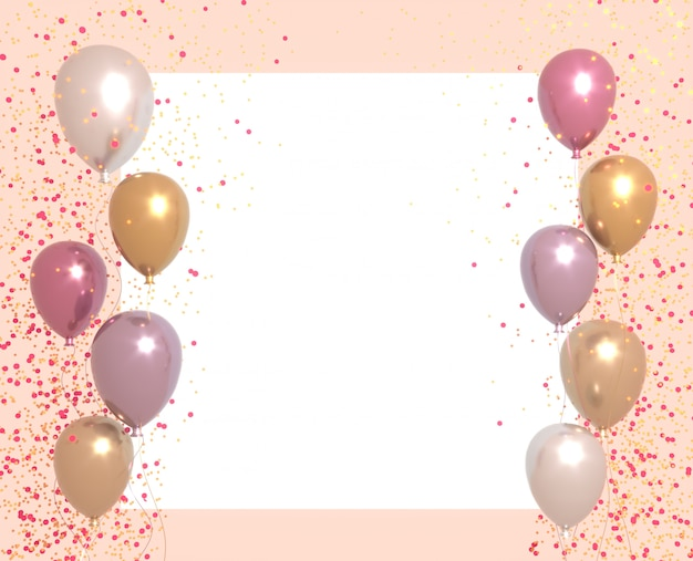 Party banner with balloons on bright background and place for text. happy birthday cards  on a white surface. festive or present 3d rendering decoration concept.