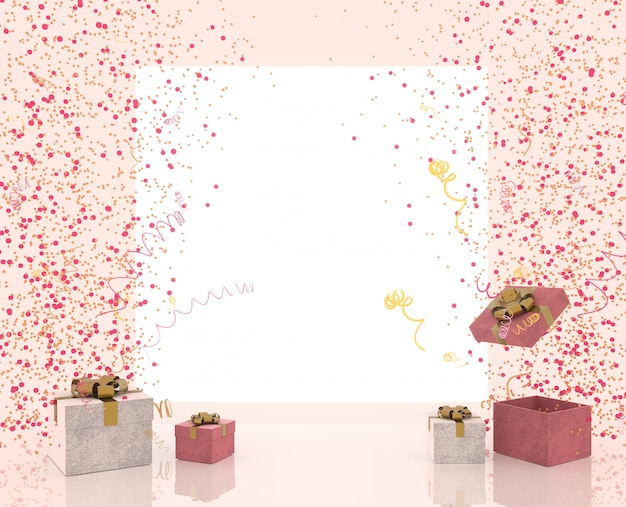 Party banner with gift box with sparkles party confetti, streamers and balloons on bright background and place for text. festive or present 3d rendering decoration concept.
