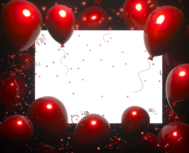 Party banner with red balloons on black background and place for text. happy birthday cards  on a white surface. festive or present 3d rendering decoration concept. party, wedding or promotion banners or posters.