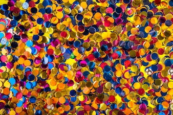 Party composition with colorful confetti