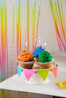 Party cupcakes with candles
