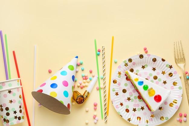 생일 케이크와 함께 파티 장식