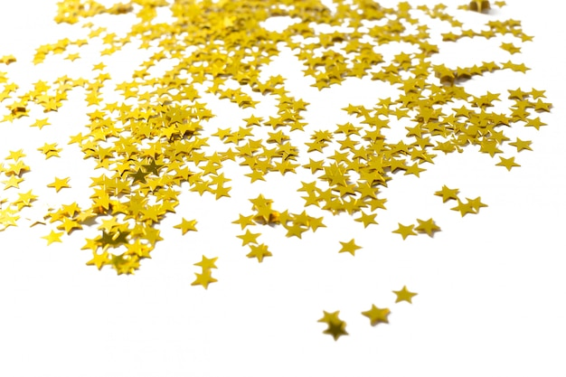 Party decoration of stars on white background
