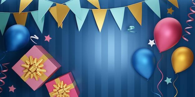 パーティー要素バナーの背景。 3dバルーンギフトボックスの星と青い縞模様の背景にぶら下がっている旗。 3dイラストレーションレンダリング