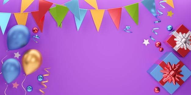 パーティー要素バナーの背景。 3dバルーンギフトボックスの星と紫色の背景にぶら下がっている旗。 3dイラストレーションレンダリング