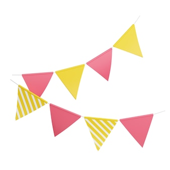 Party flags 3d render illustration. pink and yellow triangular flags hanging on rope for birthday or holiday decoration and congratulation concept. paper colorful traditional decor isolated on white.