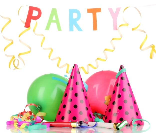 흰색 표면에 고립 된 파티 항목