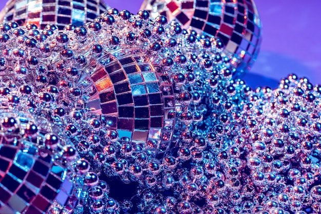 Party lights disco ball close up. disco concept