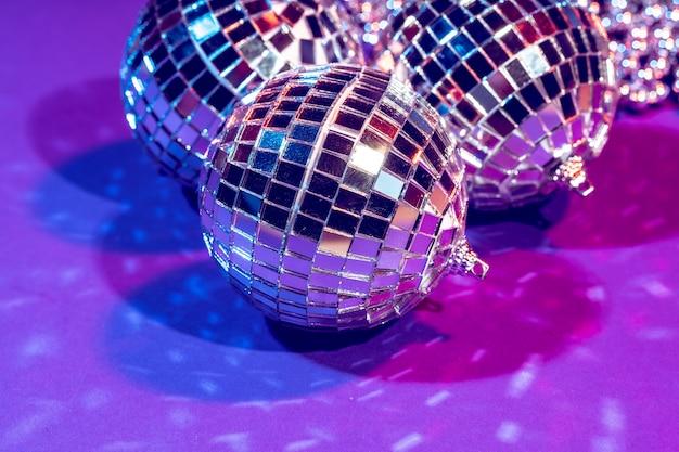 Party lights disco ball close up. disco concept