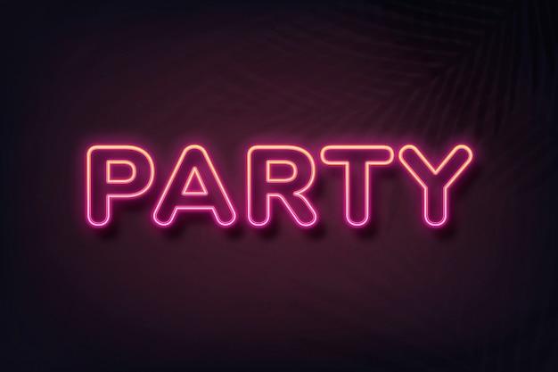 Tipografia in stile neon per feste su sfondo nero