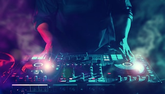 Party Night Club Disc DJ Entertainment with EDM Dance Music Mixer  Players with Lighting E