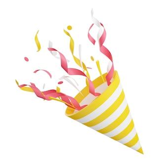 飛んでいる紙吹雪の3dレンダリングイラストとパーティーポッパー。爆竹は、白い背景で隔離された驚きまたは勝者の概念のために蛇紋岩で爆発します。誕生日と記念日のコーンポッパー。