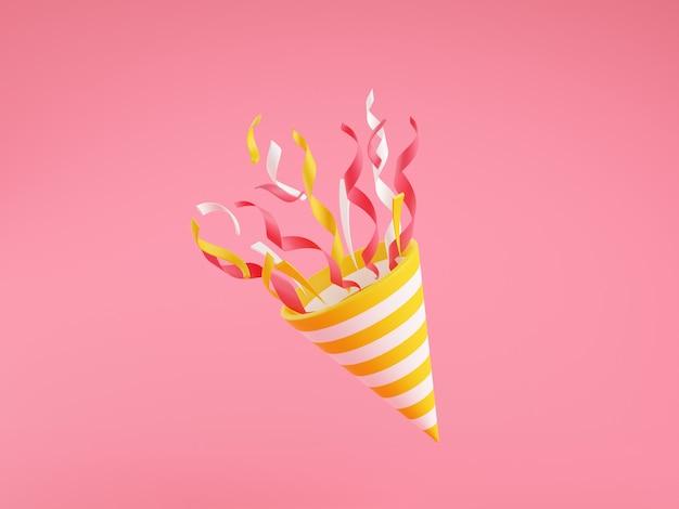 Поппер партии с летающими конфетти 3d визуализации иллюстрации на розовом фоне. фейерверк взрывается змеевиком для концепции сюрприза или победителя. день рождения и юбилейный баннер с конусом.
