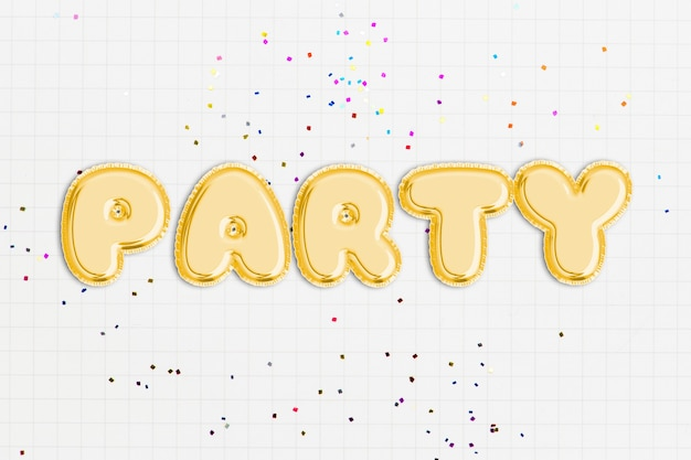 Party text in balloon font