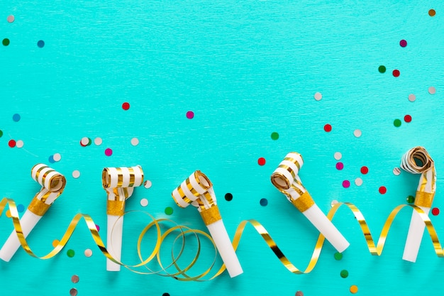 Party whistles with copy space