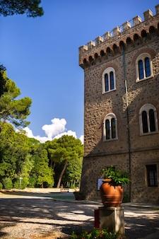 Paschini castle is a medieval-style castle located in castiglioncello in tuscany. italy, livorno