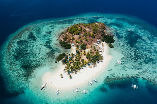 Pass island in the philippines, coron province. aerial shot from drone about vacation,travel and tropical places